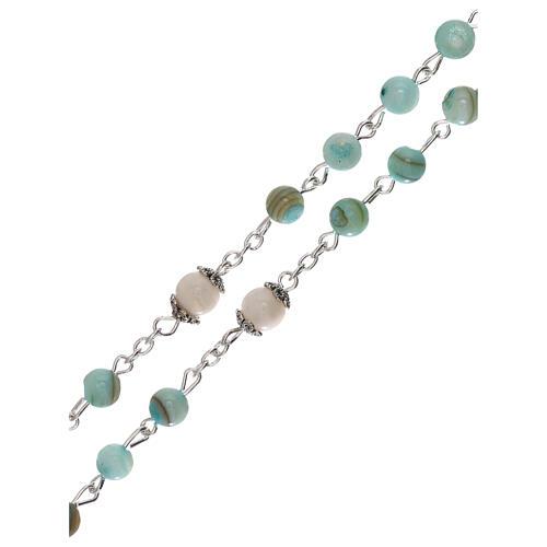 Rosario perlas agua dulce turquesa de color ámbar Virgen 4 mm 3