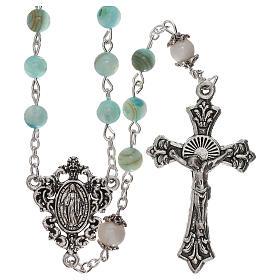 Rosario perle acqua dolce turchese ambrato Madonna 4 mm s1
