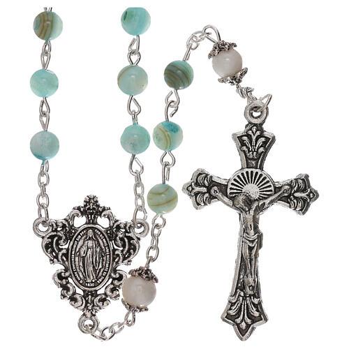 Rosario perle acqua dolce turchese ambrato Madonna 4 mm 1