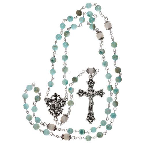 Rosario perle acqua dolce turchese ambrato Madonna 4 mm 4