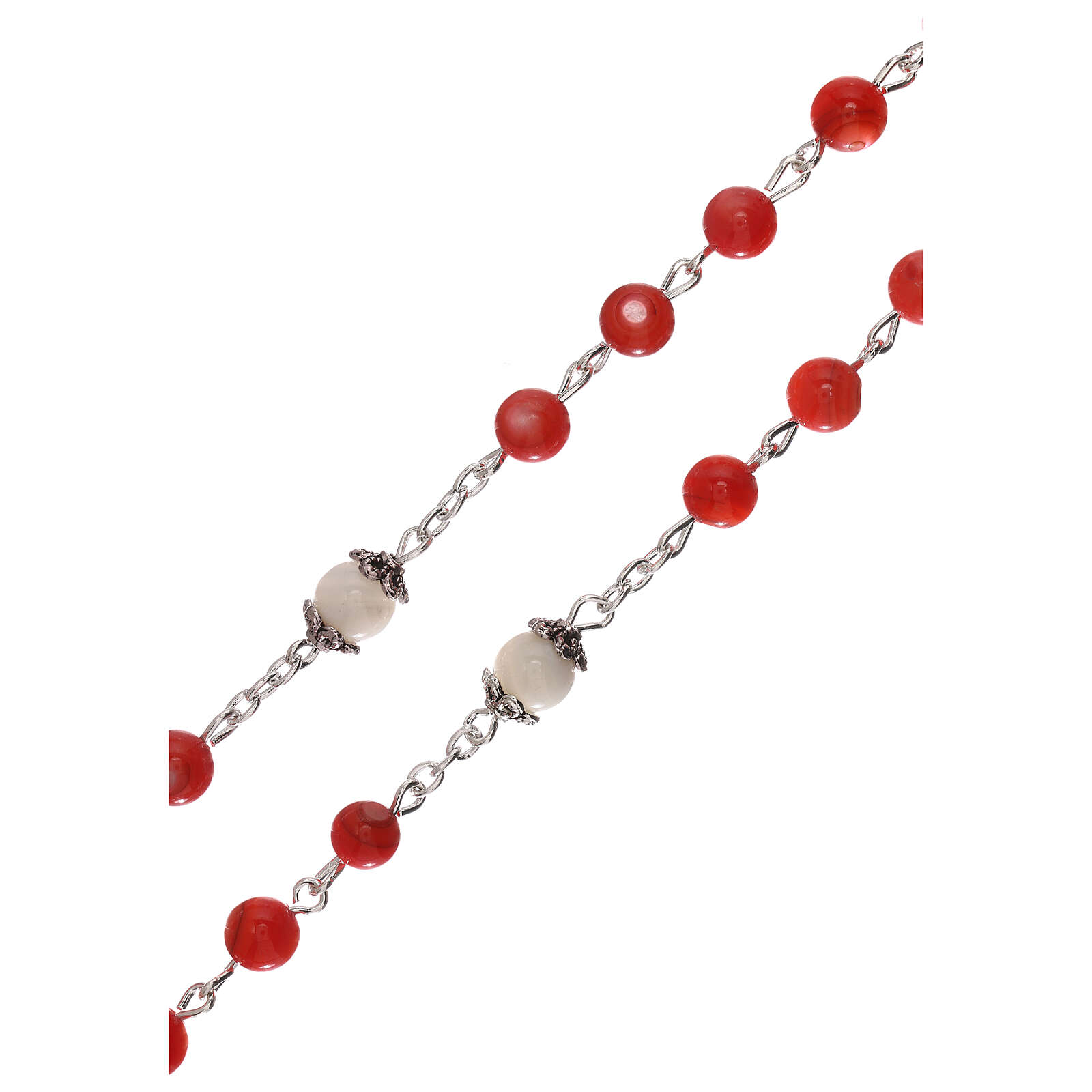 Rosary red cultured freshwater pearls Our Lady 4 mm 4