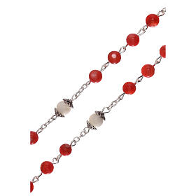 Rosary red cultured freshwater pearls Our Lady 4 mm s3
