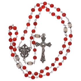 Rosary red cultured freshwater pearls Our Lady 4 mm s4