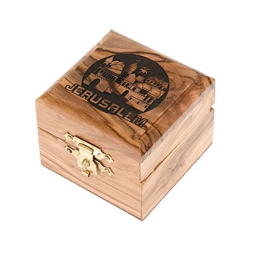 Portarosario scatola olivo Jerusalemme 1