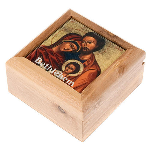 Rosary Case in olive wood - The Holy Family 1