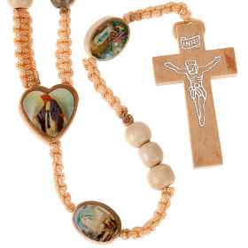 Light wood rosary with saints images s1