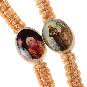 Light wood rosary with saints images s2