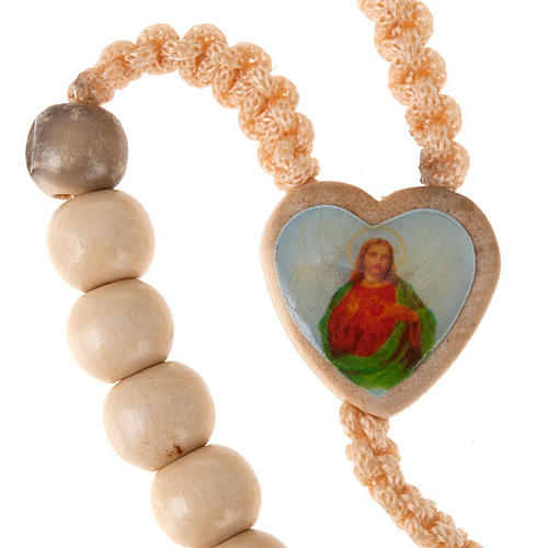 Light wood rosary with saints images 3