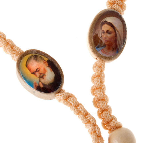 Light wood rosary with saints images 4