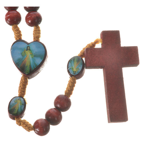 Rosary with Padre Pio and Merciful Jesus in wood 2