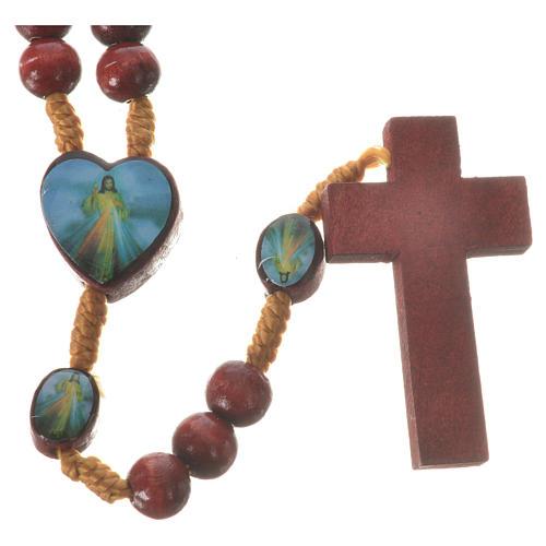 Chapelet Padre Pio et Christ Miséricordieux bois 2