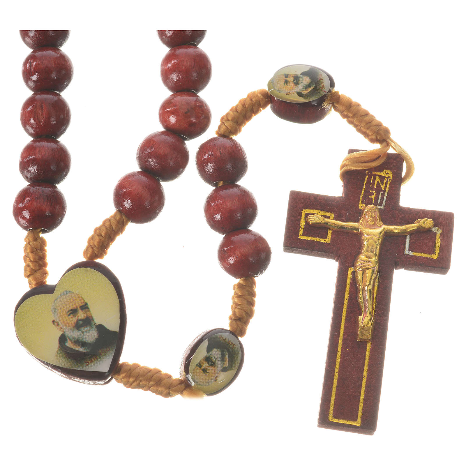 Różaniec Ojciec Pio i Jezus Miłosierny drewno 4