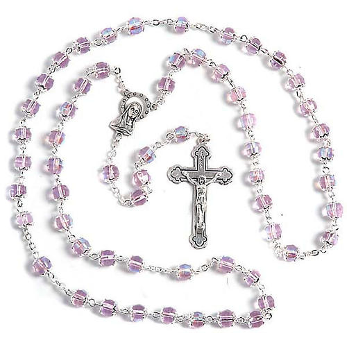 Pink glass rosary 1