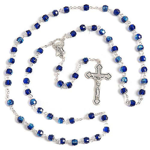 Blue glass rosary 1