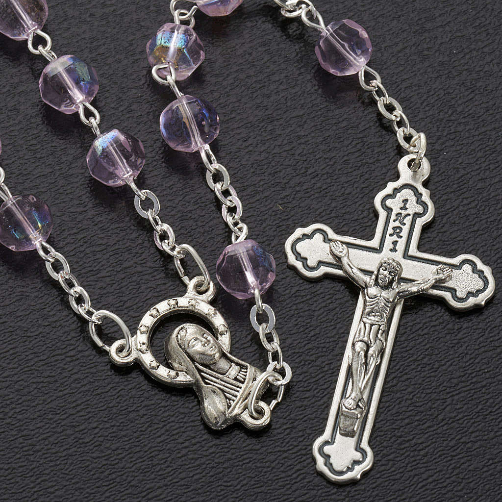 Pink faceted glass rosary 4