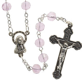 Glass rosaries: Pink faceted glass rosary
