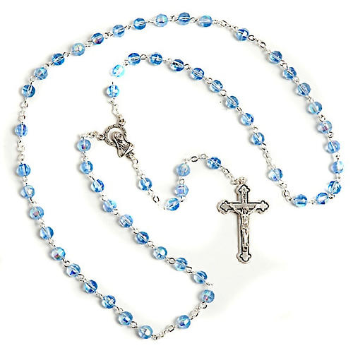 Light blue faceted glass rosary 1
