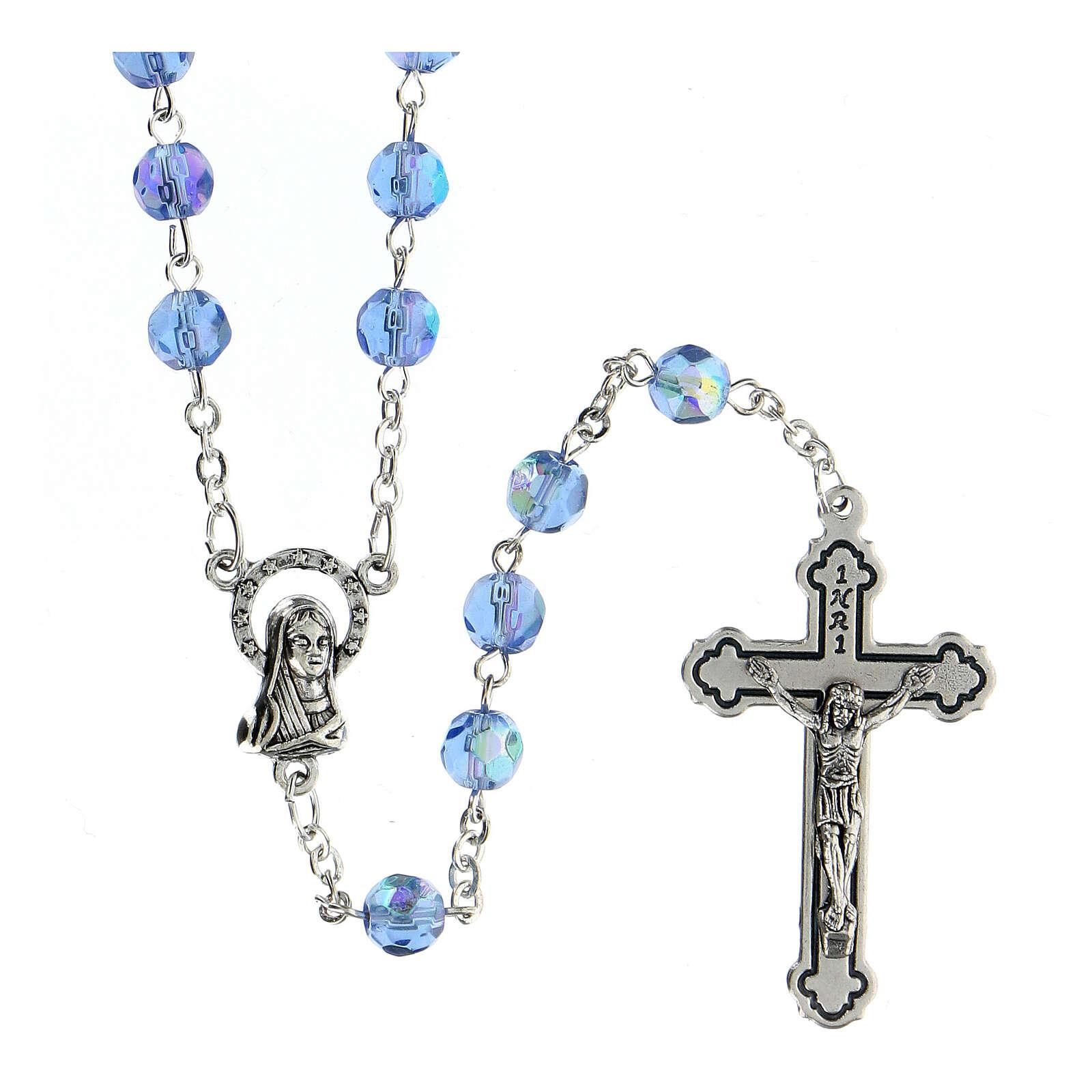 Rosario vidrio tallado celeste 4