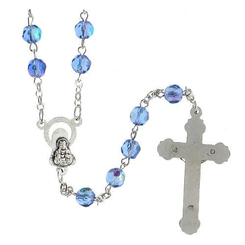 Rosario vidrio tallado celeste 2