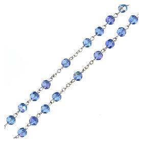 Chapelet en verre, taille à facette, bleu clair s3