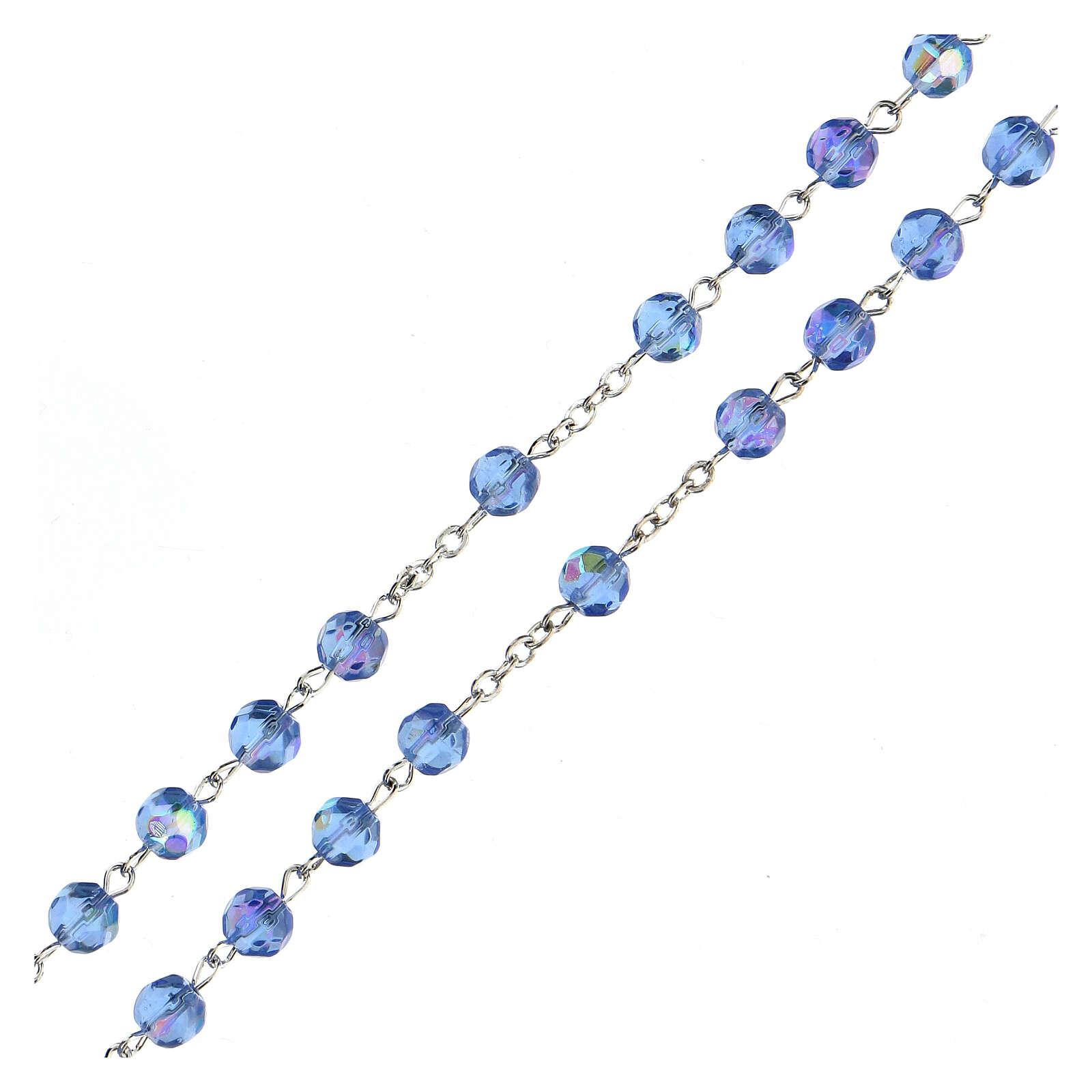 Różaniec ze szkła fasetowanego błękitny 4