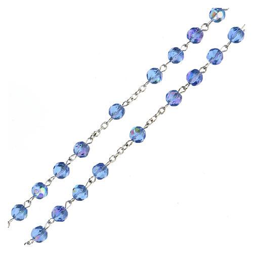 Różaniec ze szkła fasetowanego błękitny 3