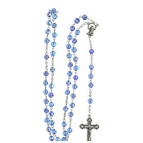 Light blue faceted glass rosary s4