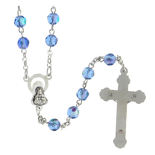 Light blue faceted glass rosary 2