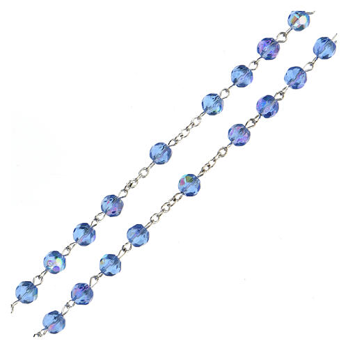 Light blue faceted glass rosary 3