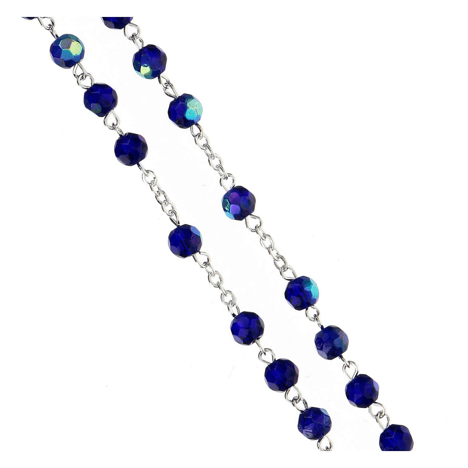 Rosario vidrio tallado azul 4