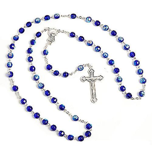 Rosario vidrio tallado azul 1