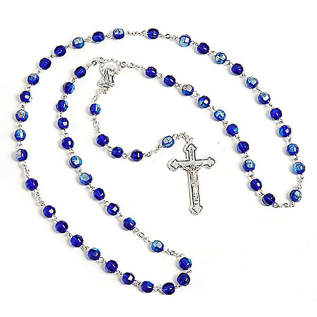 Blue faceted glass rosary 4