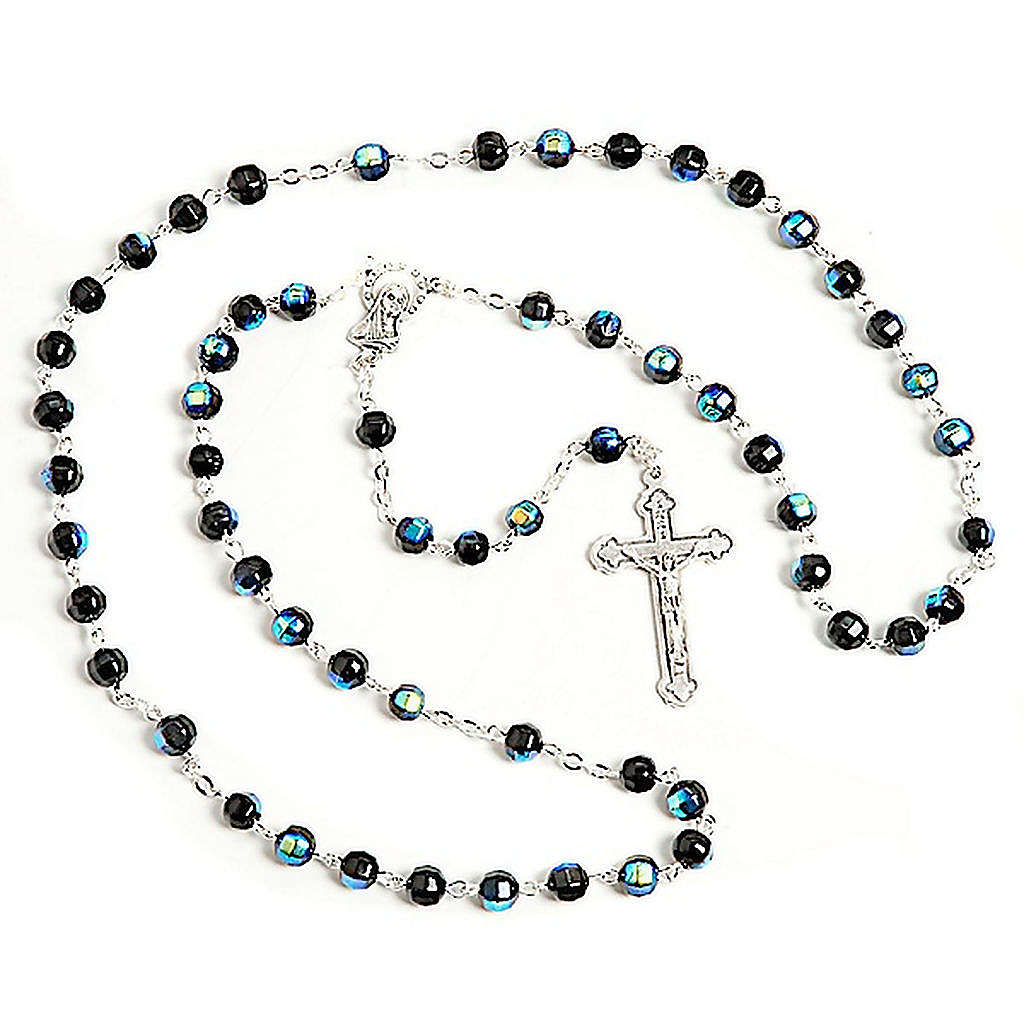 Black faceted glass rosary 4