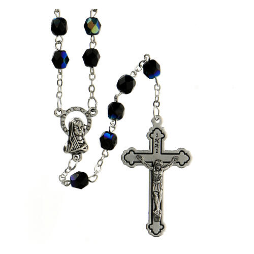 Black faceted glass rosary 1