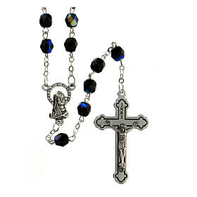 Black faceted glass rosary s1