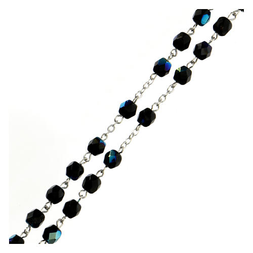 Black faceted glass rosary 3