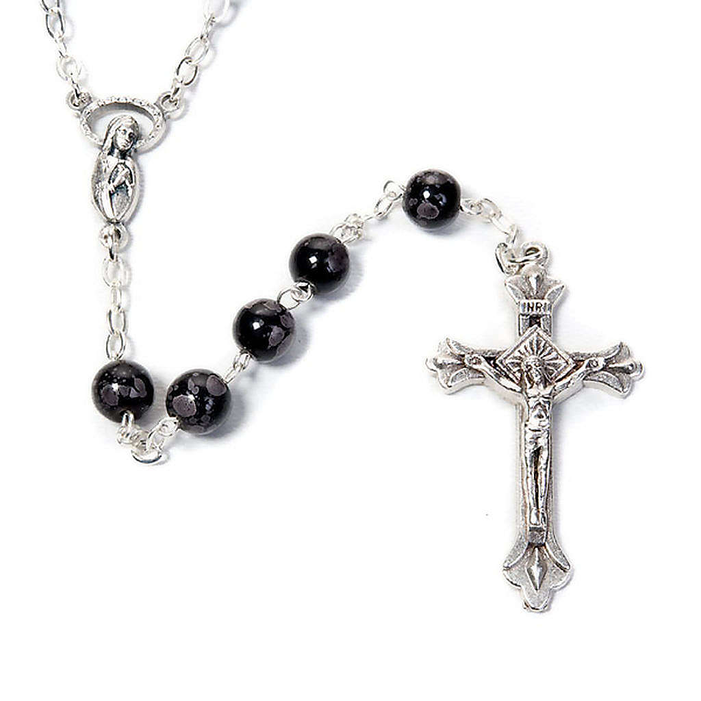 Speckled glass rosary, black brown 4