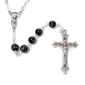Speckled glass rosary, black brown s2