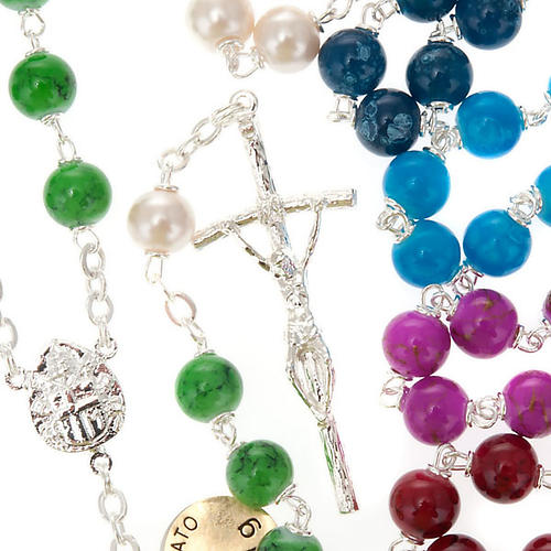 Silver plated and glass rosary 1