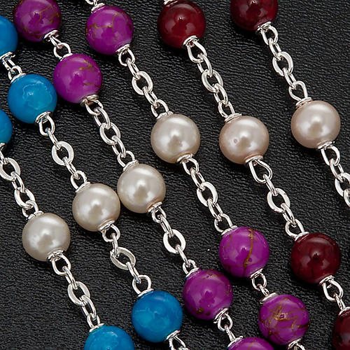 Silver plated and glass rosary 2