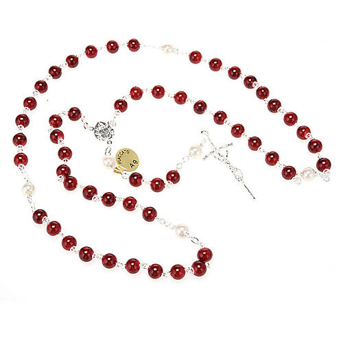 Silver plated and glass rosary 5