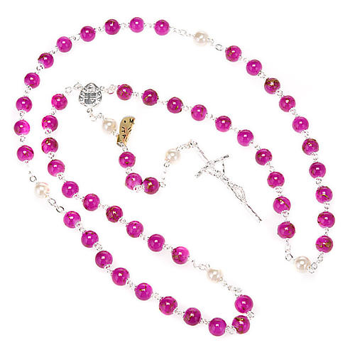 Silver plated and glass rosary 6