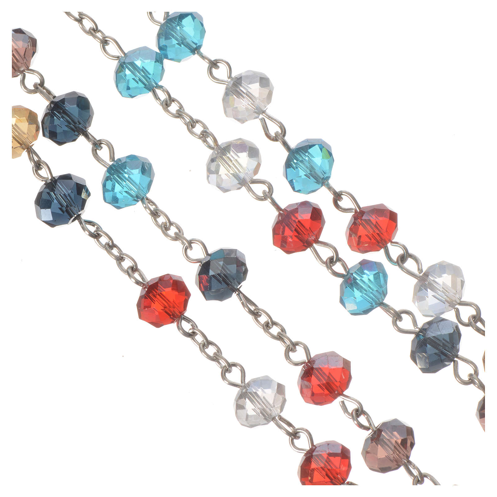 Rosary with multicoloured crystal 8x6mm 4