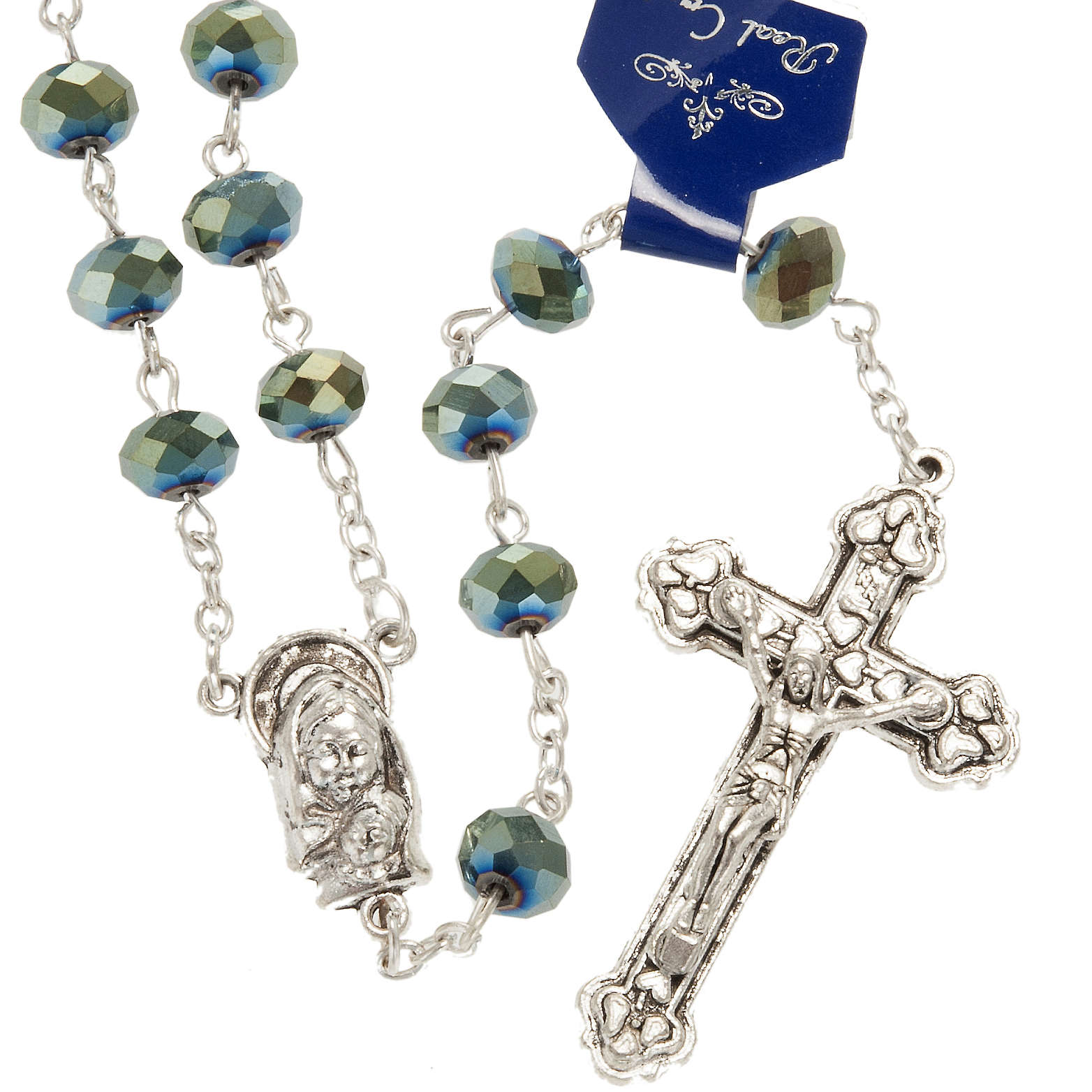 Rosary with green crystal 8x6mm 4
