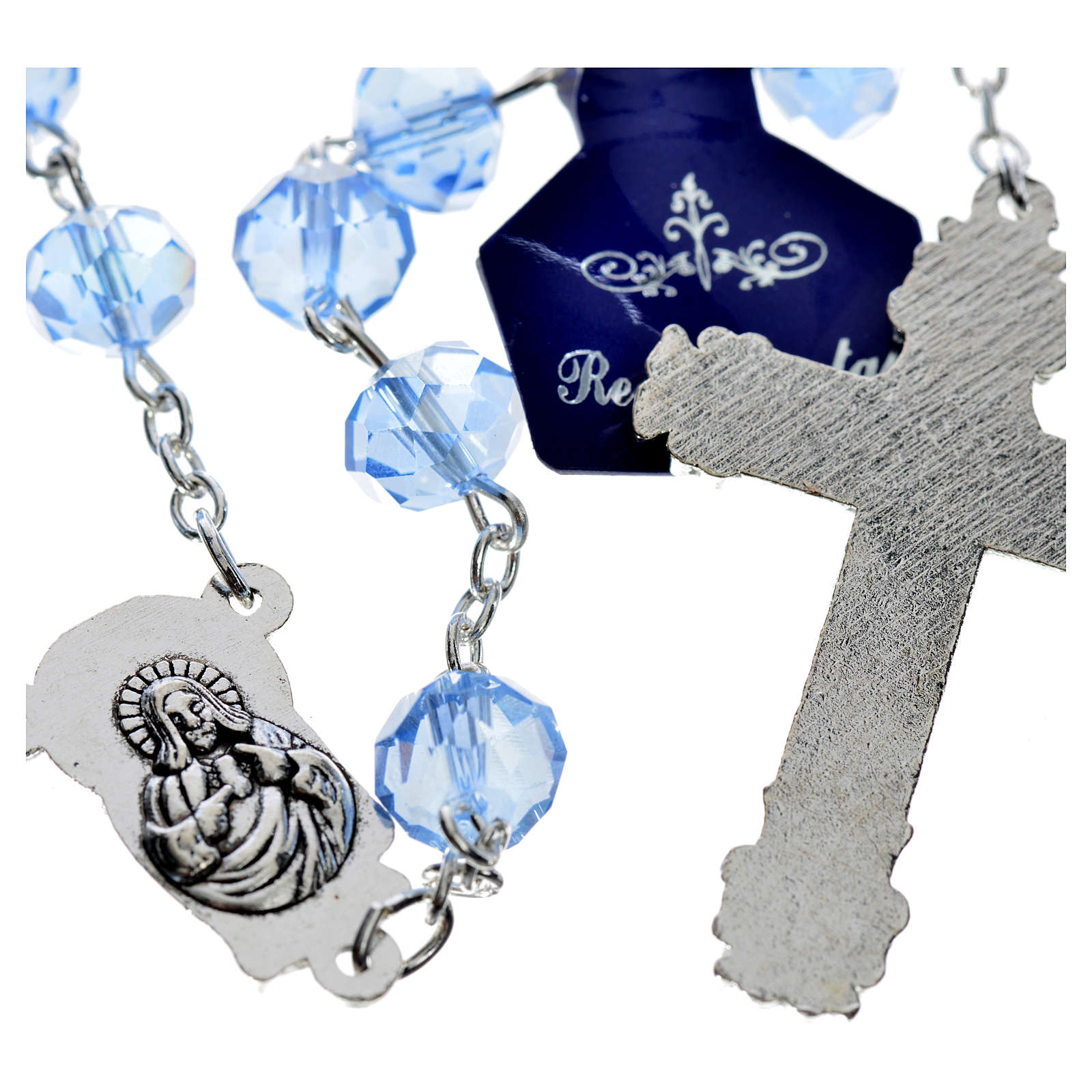 Chapelet en perles cristal saphir 4