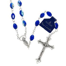 Rosenkranz echtes Kristall, blaue und ovale Perlen 6x9 mm s1