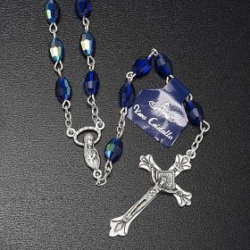 Rosenkranz echtes Kristall, blaue und ovale Perlen 6x9 mm s2