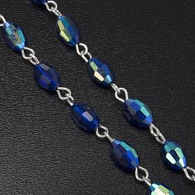 Rosenkranz echtes Kristall, blaue und ovale Perlen 6x9 mm s4