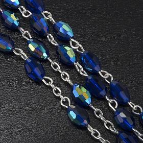 Rosenkranz echtes Kristall, blaue und ovale Perlen 6x9 mm s5