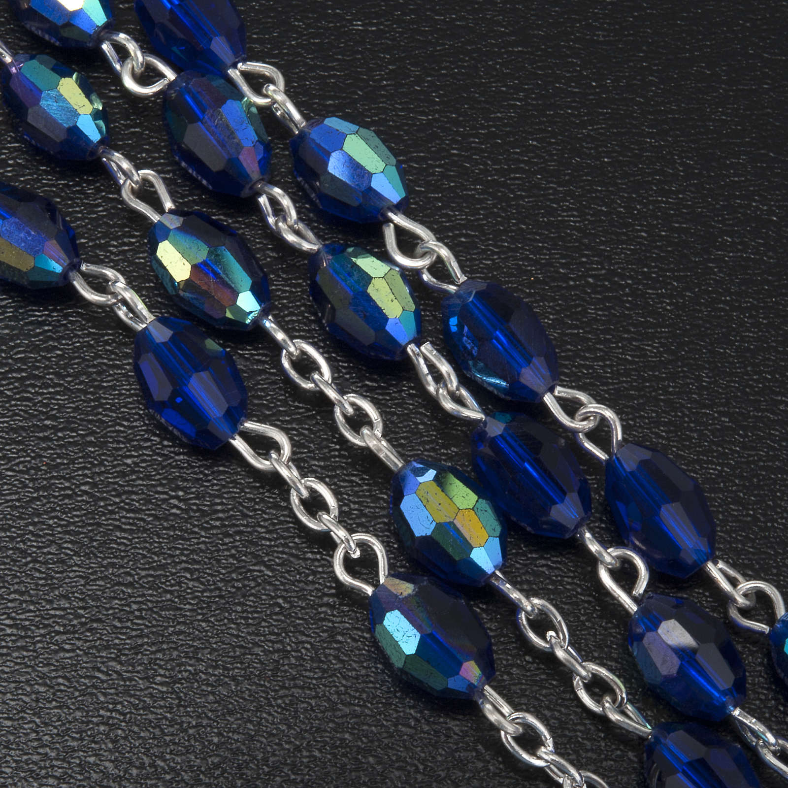 Chapelet perles cristal bleu 9x6 mm 4